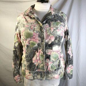 Chico's Sz 3 floral corduroy jacket